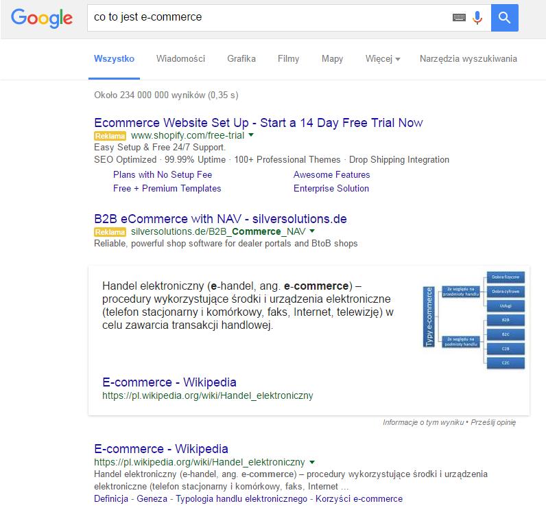 answer box przyklad dla zapytania e-commerce