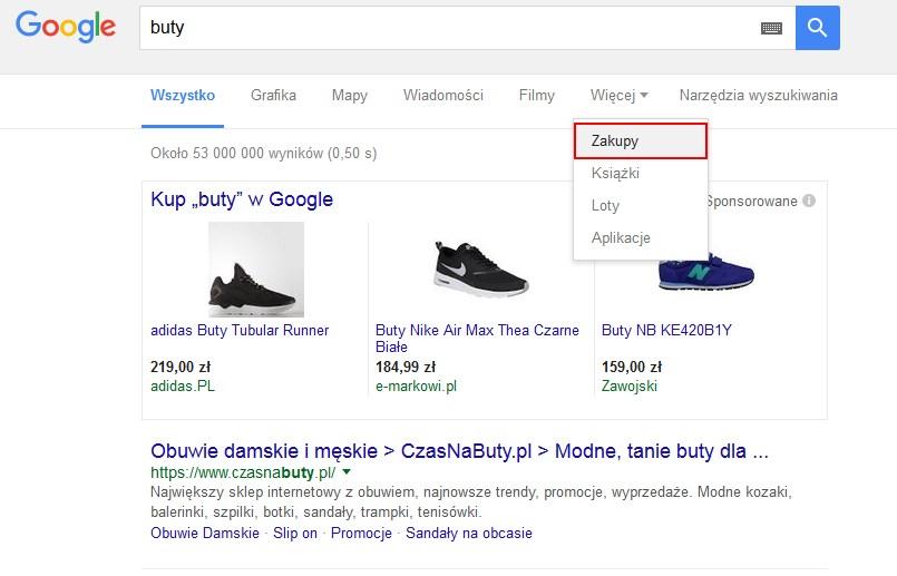 zakładka zakupów google