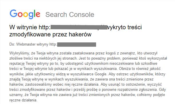 google search console powiadomienie o złośliwym kodzie
