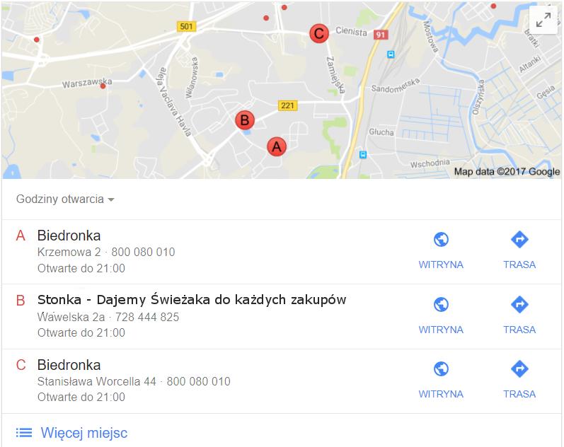 biedronka w mapach google